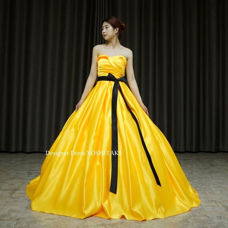 山吹イエローのシンプルプリンセスドレスを作りました。