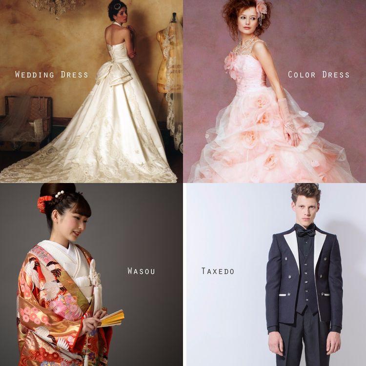 ドレス以外にも和装婚礼衣裳やタキシード、参列者衣装など、 65年間ウェディングに向き合ってきたからこその品揃えです。