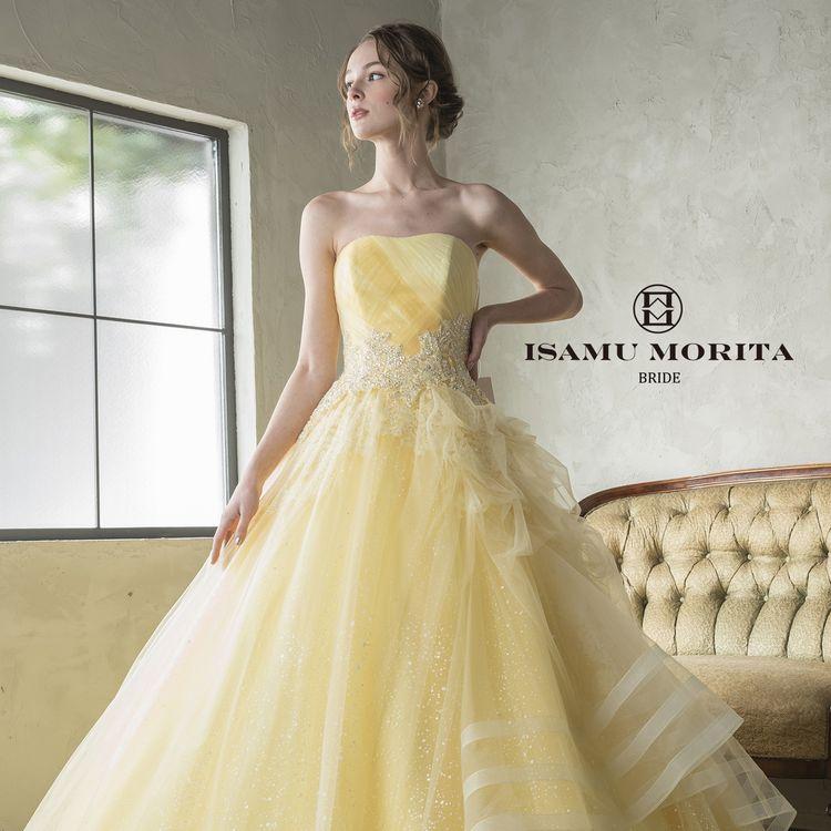 ライトイエローがとてもキュートなイサムモリタのカラードレス