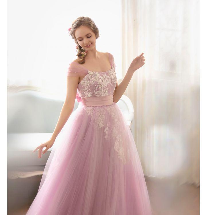 日本橋三越オリジナルカラードレス。 ピンクパープルの優しい色味が日本人の肌を美しくみせます。 小物を付ければ華やかさがアップ!!